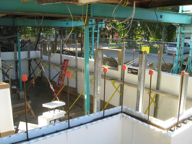 Construction of Insulated Concrete Form (ICF) wall