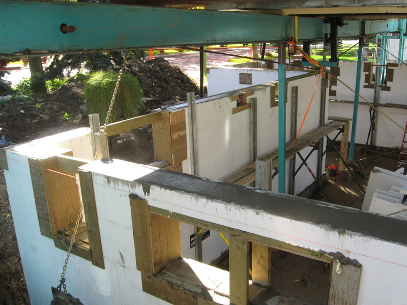 Finished Insulated Concrete Form (ICF) wall with window bucks