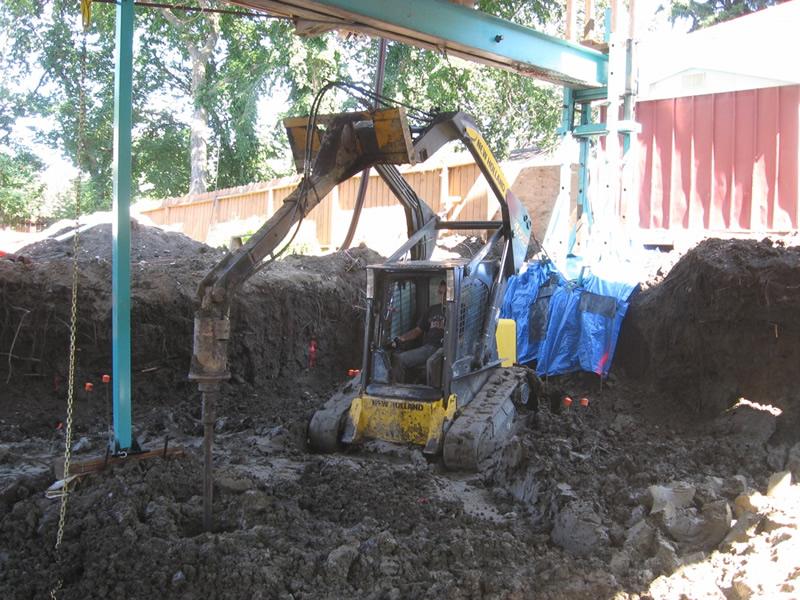 Drilling 18 ft deep holes for reinforced concrete piles