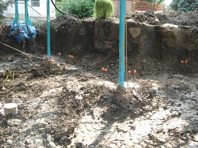18 ft deep reinforced concrete piles fully installed